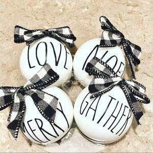 Set of 5 farmhouse ornaments